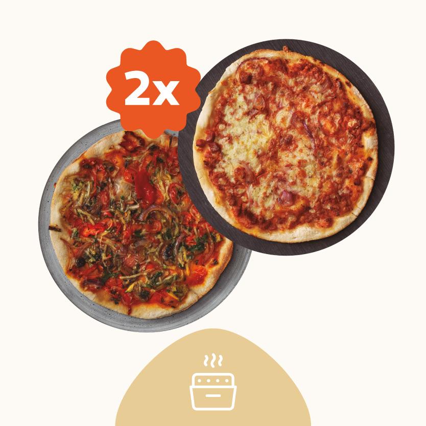 Dos Pizzas Gourmet Masa Fina - Recién Horneada