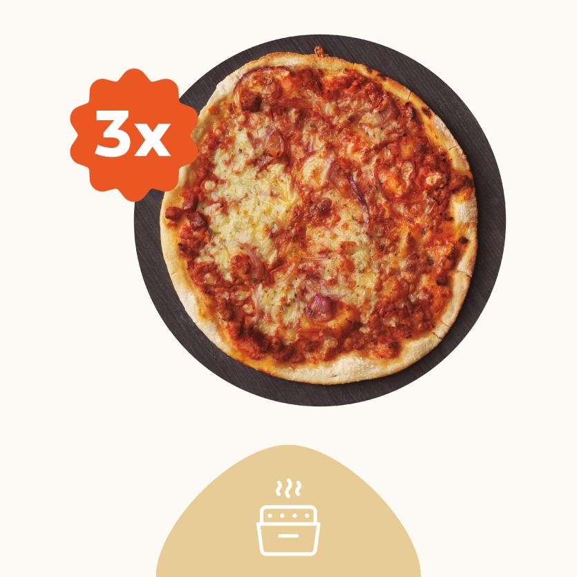 Tres Pizzas Gourmet Masa Fina - Recién Horneada