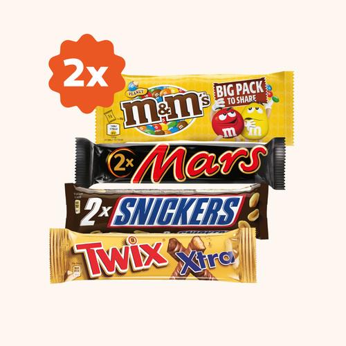 Dos  Chocolatinas Twix/Mars/Snickers/M&Ms